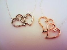 Set of two heart necklaces. Silver and rose gold. Friendship necklaces, best friend gift.
