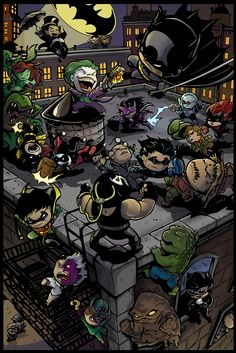 Li'l Gotham by Truxillogical.deviantart.com - Featuring (deep breath): Penguin, Rā's al Ghūl, Talia al Ghūl, Poison Ivy, Batgirl, Joker, Batman, Harley Quinn, Huntress, Mr Freeze, Batwoman, Mad Hatter, Ventriloquist & Scarface, Nightwing, Scarecrow, Bane, Robin, Two-Face, Killer Croc, Riddler, Clayface, Catwoman, The Question, Jim Gordon and Harvey Bullock.