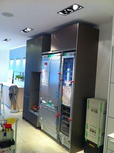 New Gaggenau Vario fridge freezer and tall wine cooler ready for their doors, exciting! Wine Fridge, Washer And Dryer, Freezer, Showroom, Locker Storage, Dishwasher, Doors, Cabinet, Kitchen