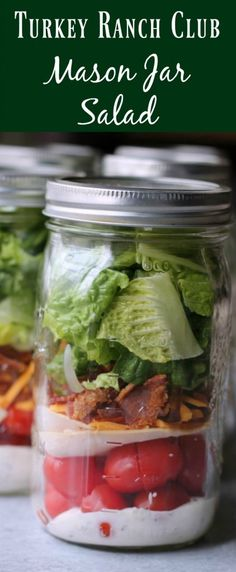 Turkey Ranch Club Mason Jar Salad