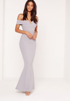 Max out your wardrobe and own the night in this babin' beaut! Featuring a sexy shade of grey, sweet bardot neckline, maxi length and a sexy v front, you'll be channelling maximum sexy vibes. Style with barely there heels and a matching clut...