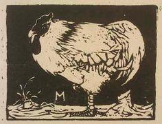 "Jan Mankes (1889-1920) - ""Hen"", 1913. Woodcut.  http://hundred-million-light-years.blogspot.co.uk/2009/09/jmankes.html  Tags: Linocut, Cut, Print, Linoleum, Lino, Carving, Block, Woodcut, Helen Elstone, Hen, Bird, Chicken, Feet, Claws, Beak, Feathers, Dutch."