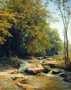Landscape with mountain creek by Volodymyr Orlovsky. Realism. landscape