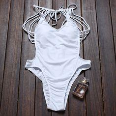 Strappy Backless One Piece Swimwear