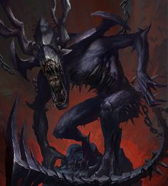 Artist: Dong geon Son aka - Title: legend of the cryptids boss monster - Card: Unknown Dark Fantasy Art, Fantasy Demon, Demon Art, Fantasy Monster, Dark Art, Dark Creatures, Weird Creatures, Fantasy Creatures, Mythical Creatures