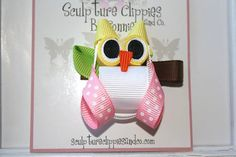 Woot Woot Wise Owl Ribbon Sculpture Bow. Pink Yellow White Bird Owl Ribbon Clip.  Free Ship Promo.