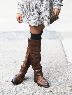 Grey Knit dress, knee socks + boots.