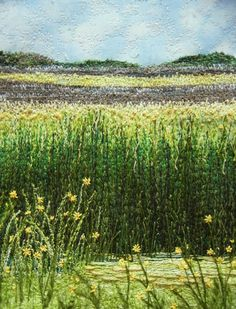 Stitched fields of grass, flowers and hills ... Awesome quilt~!