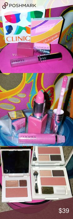 CLINIQUE 4 pcs Makeup Bundle  For Eyes & Lips! Lip gloss and small eyeshadow pallet never used! Lipstick and larger eyeshadow palette ONLY USE swatched 4 Color! Really cute end sassy girly lip colors. The eyeshadows are perfect for smokey eyes with a hint of shine. Excellent quality all around! Clinique Makeup