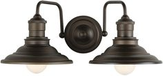 Hainsbrook 2-Light Aged Bronze Cone Bathroom Wall Vanity Lamp Light Fixture #AllenRoth #Traditional