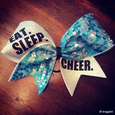 EAT.SLEEP.CHEER. turquoise sequin cheer bow