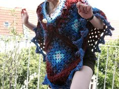 Crocheted Poncho, Granny Squares, blue, red, handmade, OOAK
