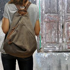 Handmade backpack made in  stonewashed canvas- leather ,in light brown (terra) color .Named Kalliope MADE TO ORDER