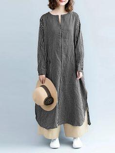 winter fashion outfits – Fashion Casual Striped Linen Shirt Women Long Blouse For Autumn Winter Mode Outfits, Winter Fashion Outfits, Fashion 2017, Modest Dresses, Casual Dresses For Women, Clothes For Women, Casual Clothes, Casual Outfits, Fashion Casual