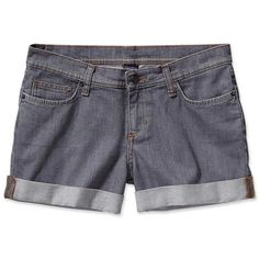 """Patagonia Women's Denim Shortie - 1 1/2"""" ($32) ❤ liked on Polyvore featuring shorts, bottoms, patagonia, denim shorts, patagonia shorts, zipper pocket shorts and stretchy shorts"""