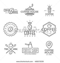 Set of coffee shop and coffee house logo isolated on white background. Vector design elements, signs, logos, identity, labels, badges and other branding objects for your business. Vector illustration.