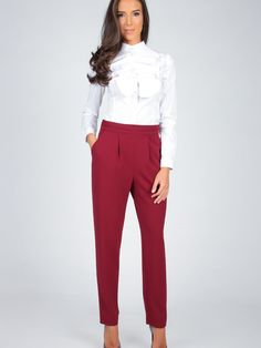 Dámske Nohavice CARLA BY ROZARANCIO #Dámske_Nohavice #blouse_with_frills #blouse_with_ruffles #long_sleeve #pants #women_fashion #fall #autumn