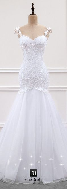 Alluring Tulle & Organza Sweetheart Neckline Mermaid Wedding Dress With Lace Appliques & Beadings