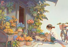 FlowerShop, Krenz Cushart on ArtStation at https://www.artstation.com/artwork/Nbk8g