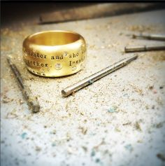 A personalized Heather Moore Jewelry yellow gold scroll ring with scattered white diamonds. Jewelry Box, Fine Jewelry, Personalized Jewelry, Bridal Collection, Custom Design, Wedding Rings, Glitter, Bling, Engagement Rings