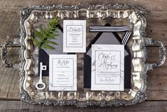 The Marble Elyse Suite with handlettering! A beautiful look for a formal, modern wedding. | Feathered Heart Prints