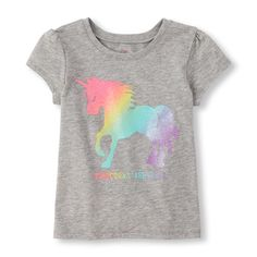 Image for Toddler GIrls Rainbow '#Unicorns Are Real' Graphic Tee from The Children's Place