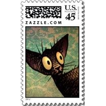 Cute Oriental Cat Stamps by Paul Stickland for StrangeStore on Zazzle