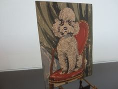 Folk Art Seated White Poodle On Red Chair Oil Painting On Paper Gouache #art #Chair #Folk #gouache #oil #painting #paper #Poodle #Red #Seated #white Oil Painting On Paper, Gouache Painting, Art Oil, Watercolor Paper, Playing Card Box, Paper Dimensions, Watercolor Portraits, Green Backgrounds, Big Eyes