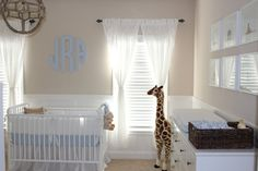 Baby Boy Nursery - love the giraffe + monogram!