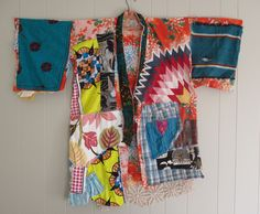 MyBonny Collage Clothing - Wearable Folk Art - GEISHA PATCHWORK KIMONO Couture - Altered Antique Fabric - Vintage Linens Fabric  - Japanese Asian +