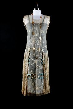 Blue Flapper Dress - c. 1922