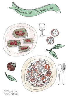 Italy Culinary Tour: Milan Illustrated Food Map | Food and travel illustration By Yaansoon Illustration + Art | Trattoria al Toscanaccio restaurant in Milano
