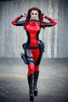 red black latex catsuit
