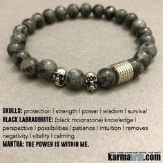 #BEADED #Yoga #BRACELETS  ♛ #Black #Moonstone can neutralize and cancel #spells that are no longer wanted.  It repels negative energy and increases our security in the strength of our own intellect and creativity.  #Skulls #Mens #Good #Luck #womens #Jewelry #Fertility #Eckhart #Tolle #Crystals #Energy #gifts #Chakra #Healing #Kundalini #Law #Attraction #LOA #Love #Mala #Meditation #prayer #Reiki #mindfulness #wisdom #CrystalEnergy #Spiritual #Tony #Robbins #Gifts