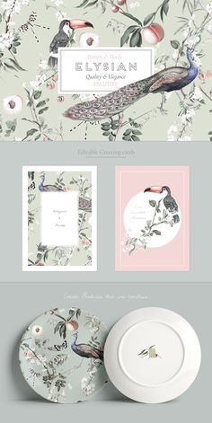 Very Happy to present my latest design Elysian, an exquisite design with elegant and quality elements in pastel tones, perfect for a wide range of products which can also be personalised with the individual elements/motifs that come with it. Graphic Patterns, Print Patterns, Packaging Design, Branding Design, Pattern Illustration, Watercolor Illustration, Clip Art, Flyer, Grafik Design