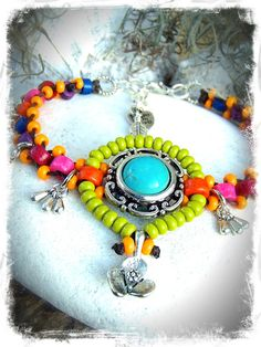DROP Charm ANKLE Bracelet Turquoise Colorful beaded by GPyoga