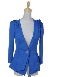 Anna-Kaci S/M Fit Blue Deep V Neck Ruffle Shoulder Polyester L/S Fashion Blazer ♥