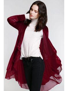 Swingy Velvet Long Sleeve Coat - CLARET S