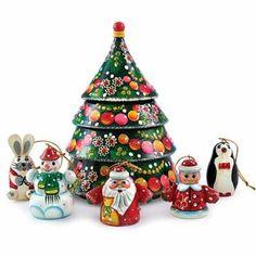 Christmas Tree Nesting Doll with Christmas Ornaments