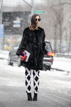 How to dress for a blizzard - also I love the contrast pants !