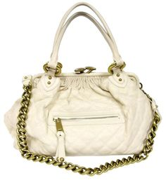 adb55b80c2f5 MARC JACOBS Signature Mini Stam Large Quilted Crossbody Off White Leather