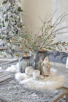 How I am Transitioning Decor from Fall to Christmas on my Coffee Table – Home with Holliday Transitioning Décor from … Christmas Table Settings, Christmas Centerpieces, Christmas Decorations, Table Decorations, Holiday Decorating, Decorating Ideas, Christmas Coffee, Christmas Home, Coffee Table Christmas Decor