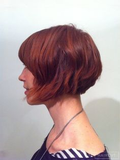 women redhead ginger graduated bob hairstyle
