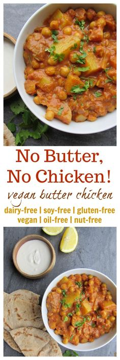 No Butter No Chicken Vegan Butter Chicken: No Butter No Chicken! (vegan gluten-free oil-free nut-free option soy-free) Source by VGastronomy Veggie Recipes, Indian Food Recipes, Whole Food Recipes, Vegetarian Recipes, Cooking Recipes, Healthy Recipes, Cooking Time, Vegan Indian Food, Vegan Recepies