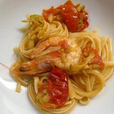 Linguine, mazzancolle, zucchine e pomodorini