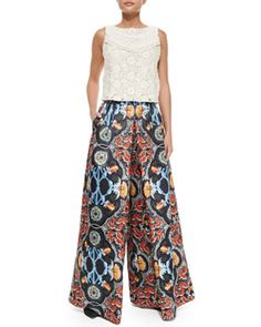 T9ZT7 Alice + Olivia Baroque-Print High-Waist Pants