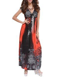 Printed Glamorous V Neck Maxi Dress