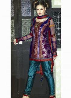 Пурпурная женская блузка из дорогой парчи, с длинными прозрачными рукавами из шифона + зауженные шёлковые брюки (чуридары) цвета Красного моря