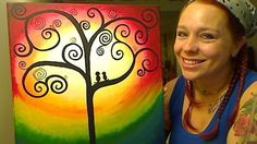 How To Paint A Swirly Tree and Love Birds •♥•Hippie Hugs with Love, Michele•♥•