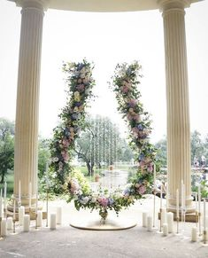 Ceremony backdrop shaped like a giant lyre!